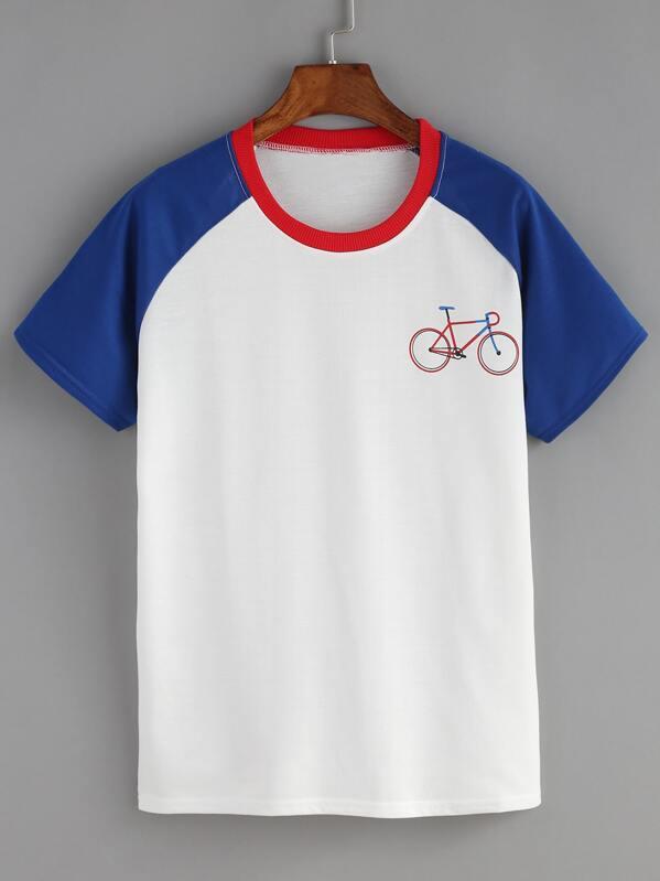 d405b95dfb260 Bicyle Print Contrast Raglan Sleeve Blue T-shirt