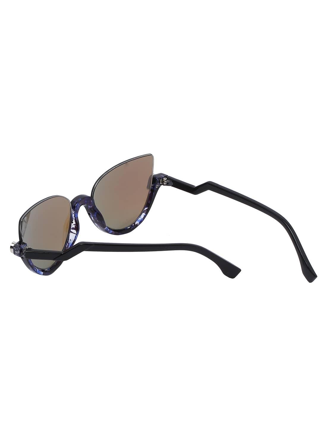 Cat Eye Blue Half Frame Sunglasses -SheIn(Sheinside)