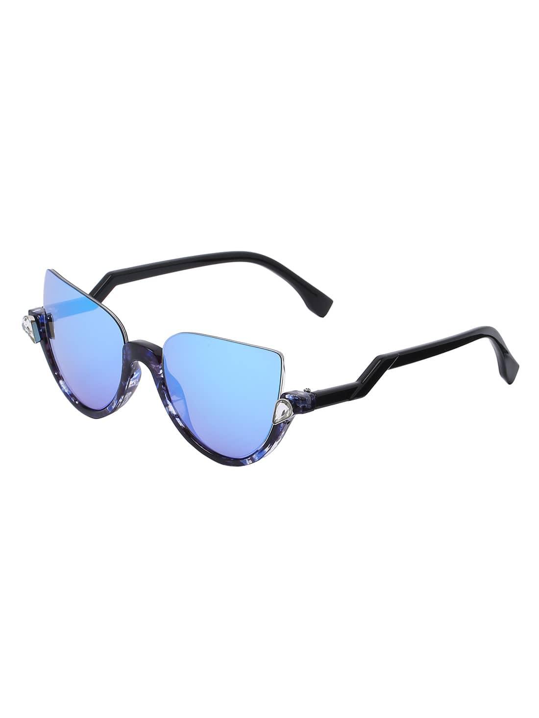 Half Frame Cat Glasses : Cat Eye Blue Half Frame Sunglasses -SheIn(Sheinside)