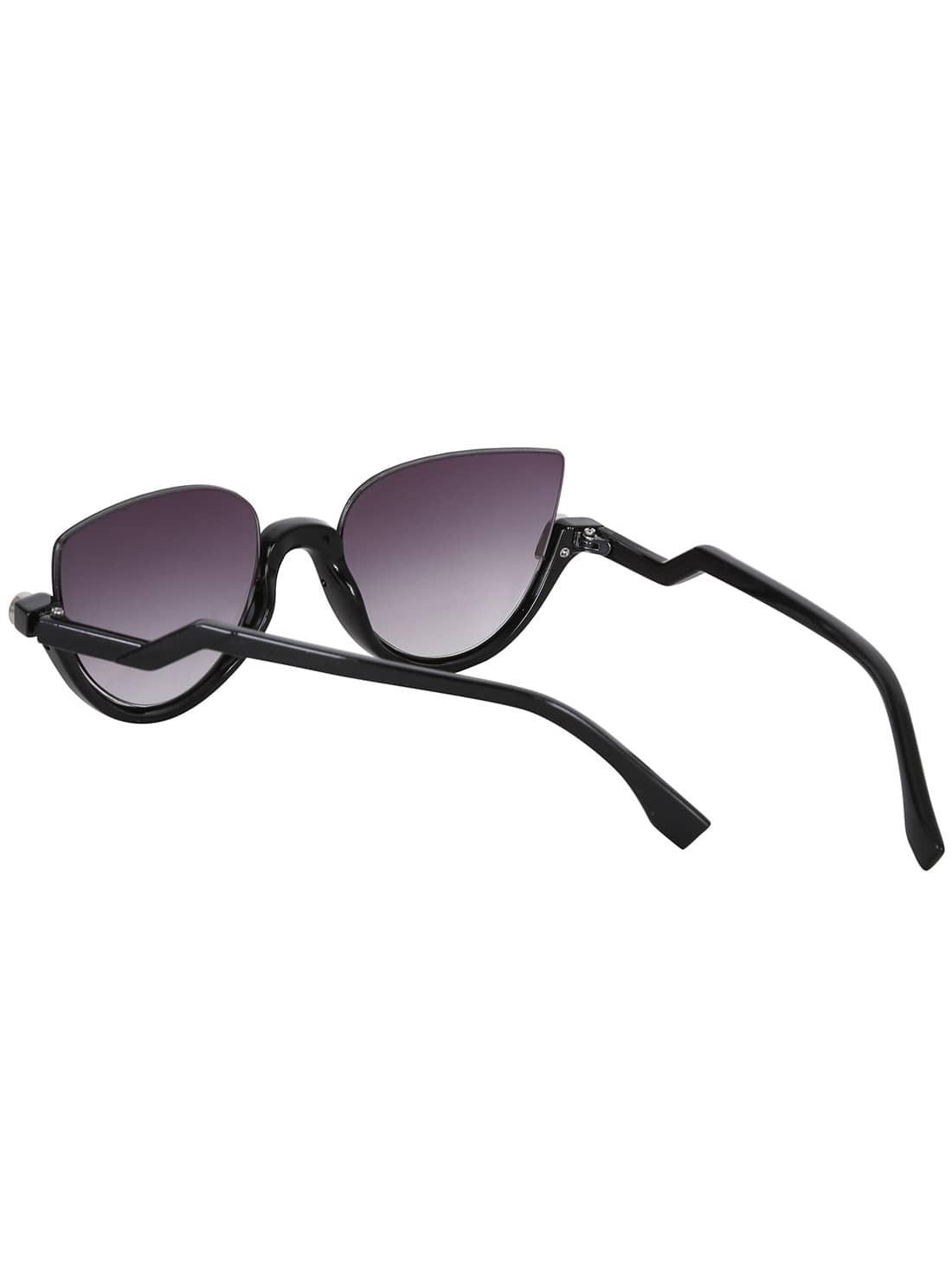 Black Half Frame Glasses : Cat Eye Black Half Frame Sunglasses -SheIn(Sheinside)