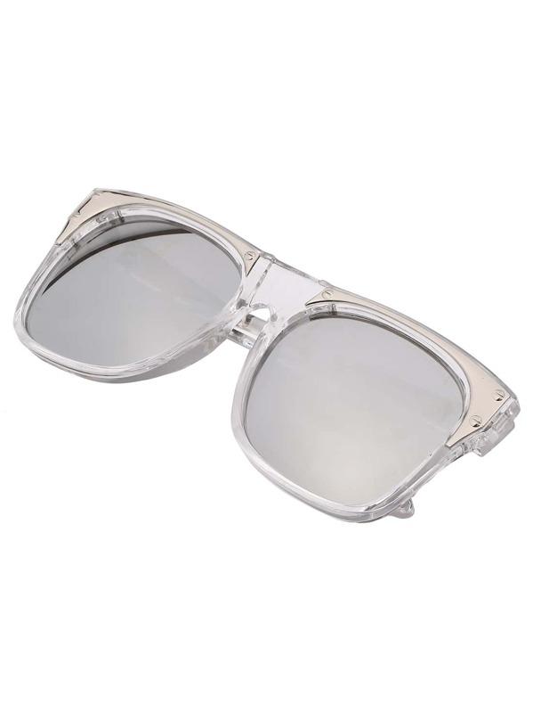 74e26d3ef8 Metal Featured Frame Silver Lenses Sunglasses -SheIn(Sheinside)