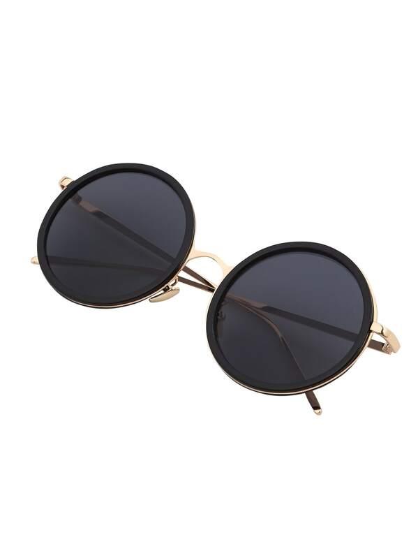 Lunettes de soleil rond avec monture métallique -noir-French SheIn(Sheinside ) 7def165c57ef