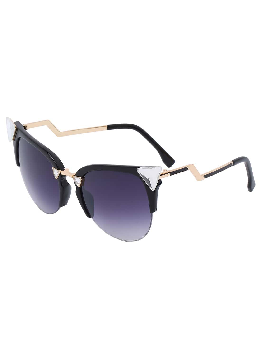 Black Half Frame Glasses : Black Half Frame Rhinestone Featured Sunglasses -SheIn ...