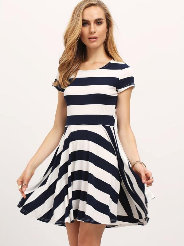 cba5180dbc07 Navy White Strap Short Sleeve Skater Dress -SheIn(Sheinside)