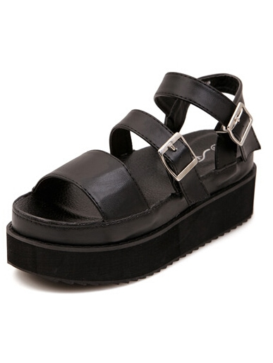 Chunky Platform Buckled Sandals Strappy Black 31FclTKJ