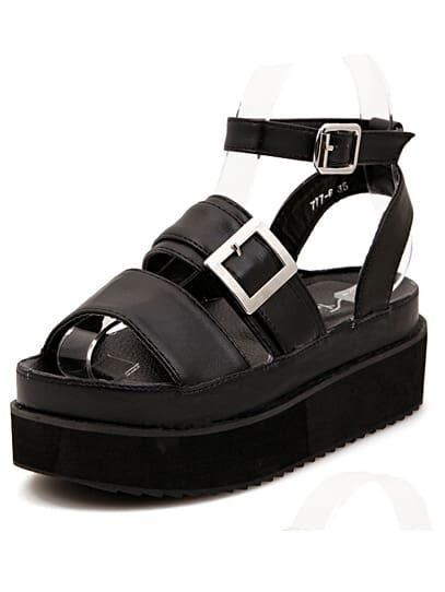 2da705de8 Cheap Strappy Oversized Buckle Chunky Platform Black Sandals for sale  Australia