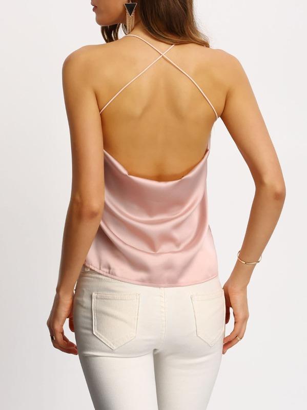 ba1938188 Top cuello redondo cruzado -rosado-Spanish SheIn(Sheinside)