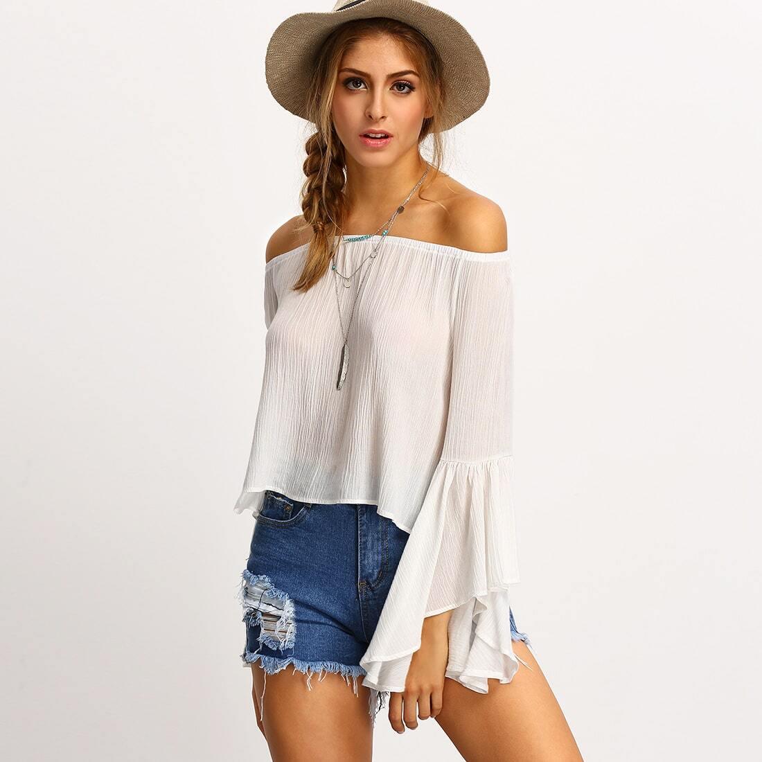 White off the shoulder bell sleeve shirt shein sheinside for Bell bottom sleeve shirt