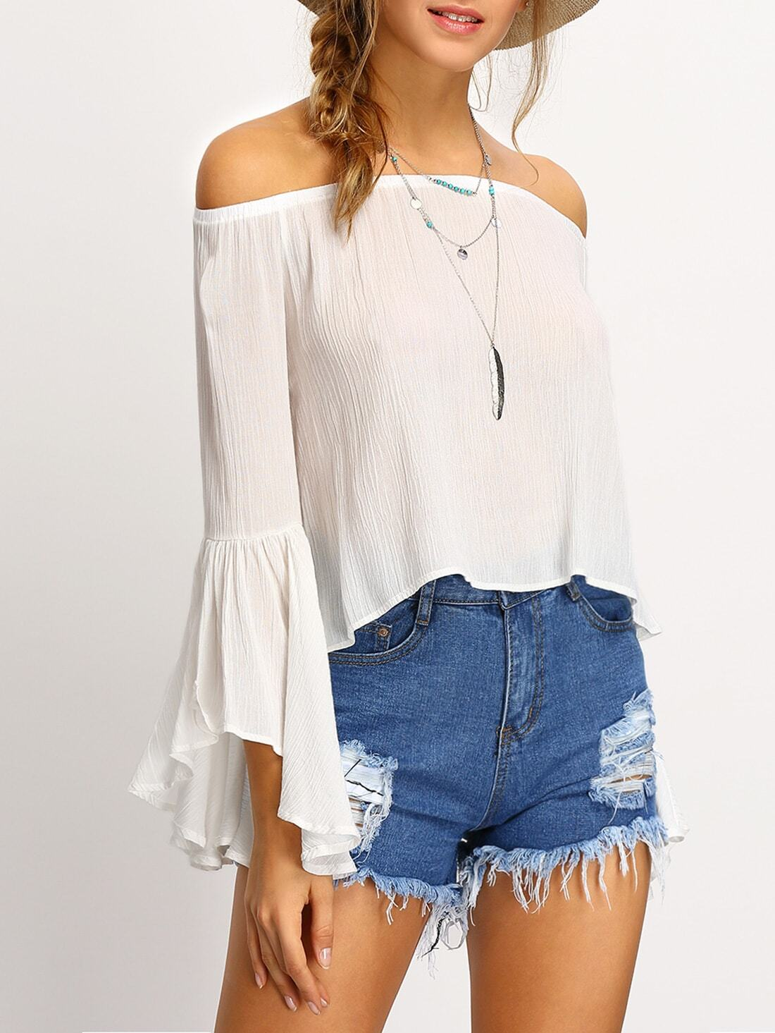 white off the shoulder bell sleeve shirt shein sheinside