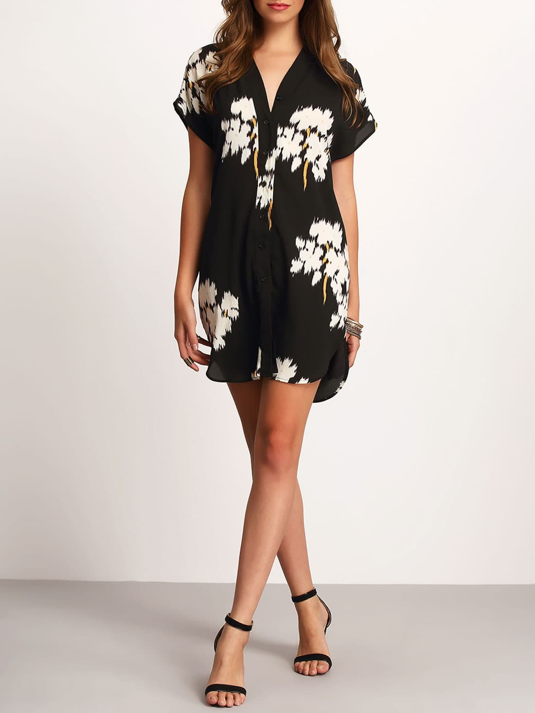 Black V-neck Floral Print Dolphin Hem Dress