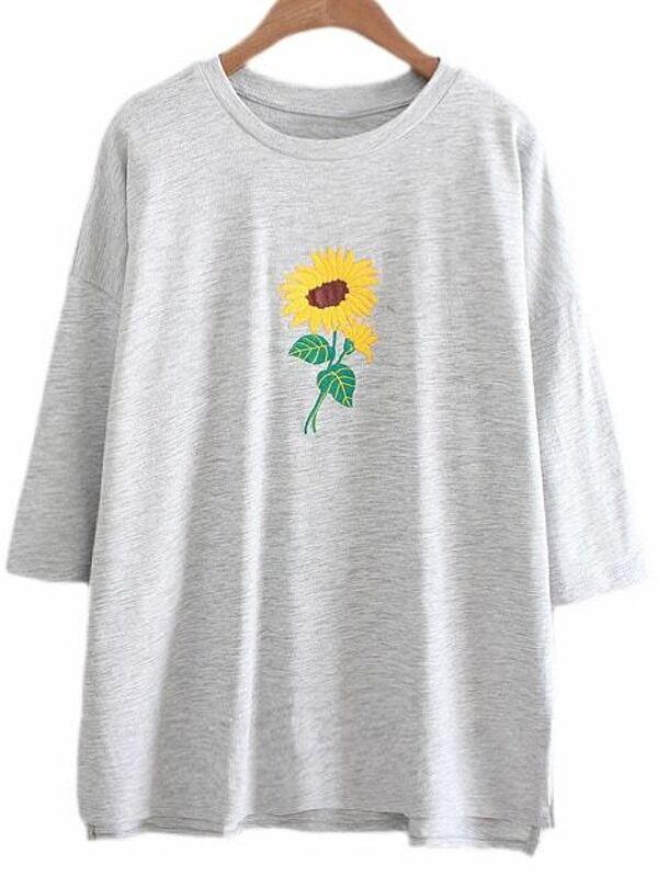 Grey Dip Hem Sunflower Embroidery T Shirt SheInSheinside