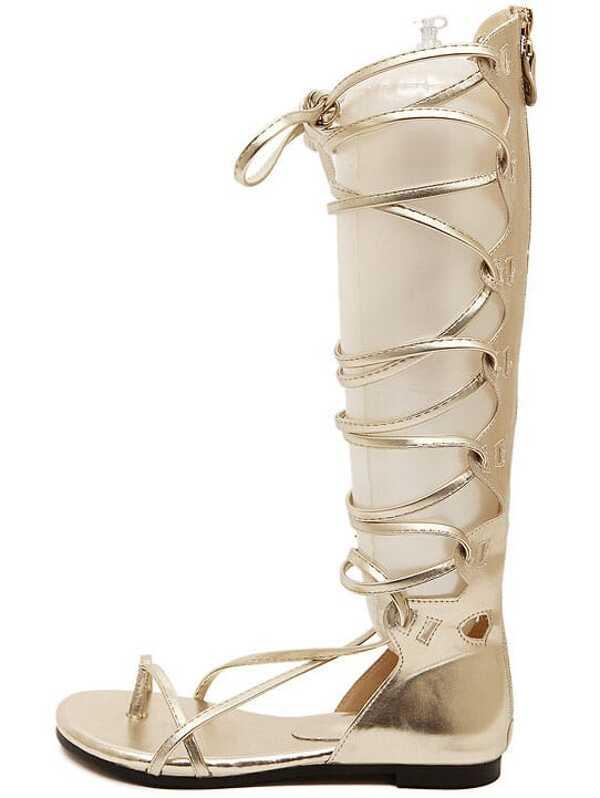 7b46be52b4e Gold Lace Up Flip Tall Sandals -SheIn(Sheinside)
