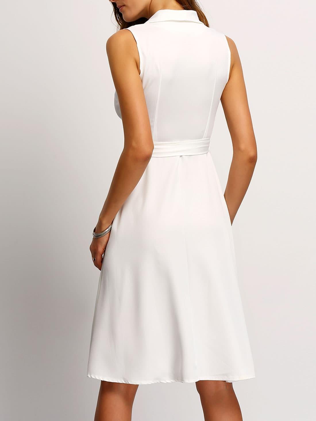 white a line shirt dress with belt shein sheinside