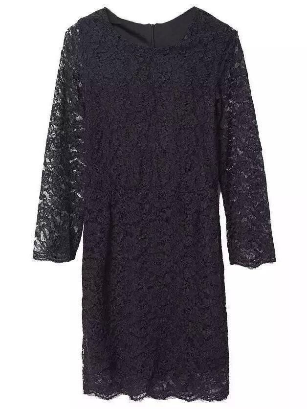 Черное платье-футляр с длинными рукавами