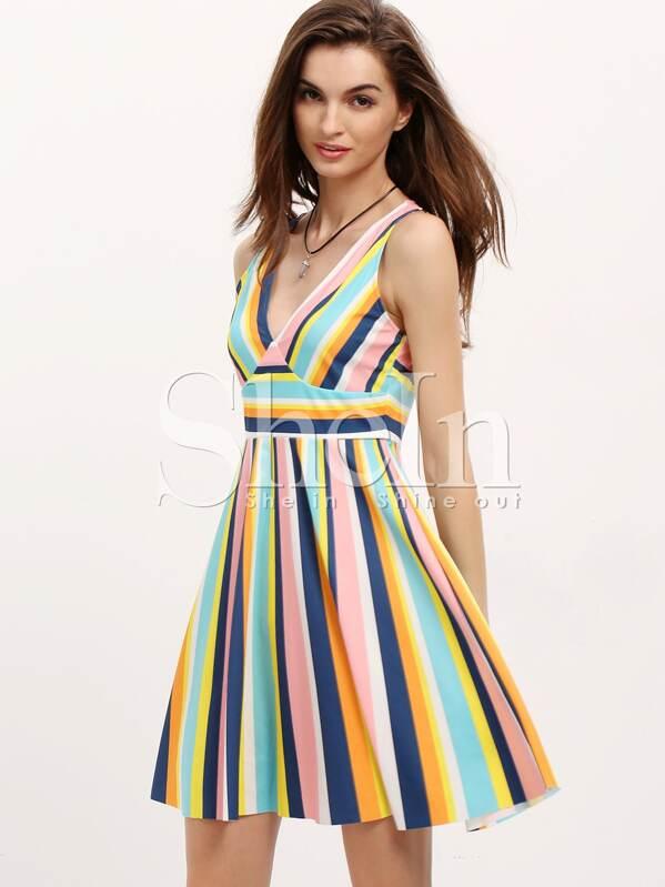 f7a2c36ab Vestido rayas verticales escote V -color combinado