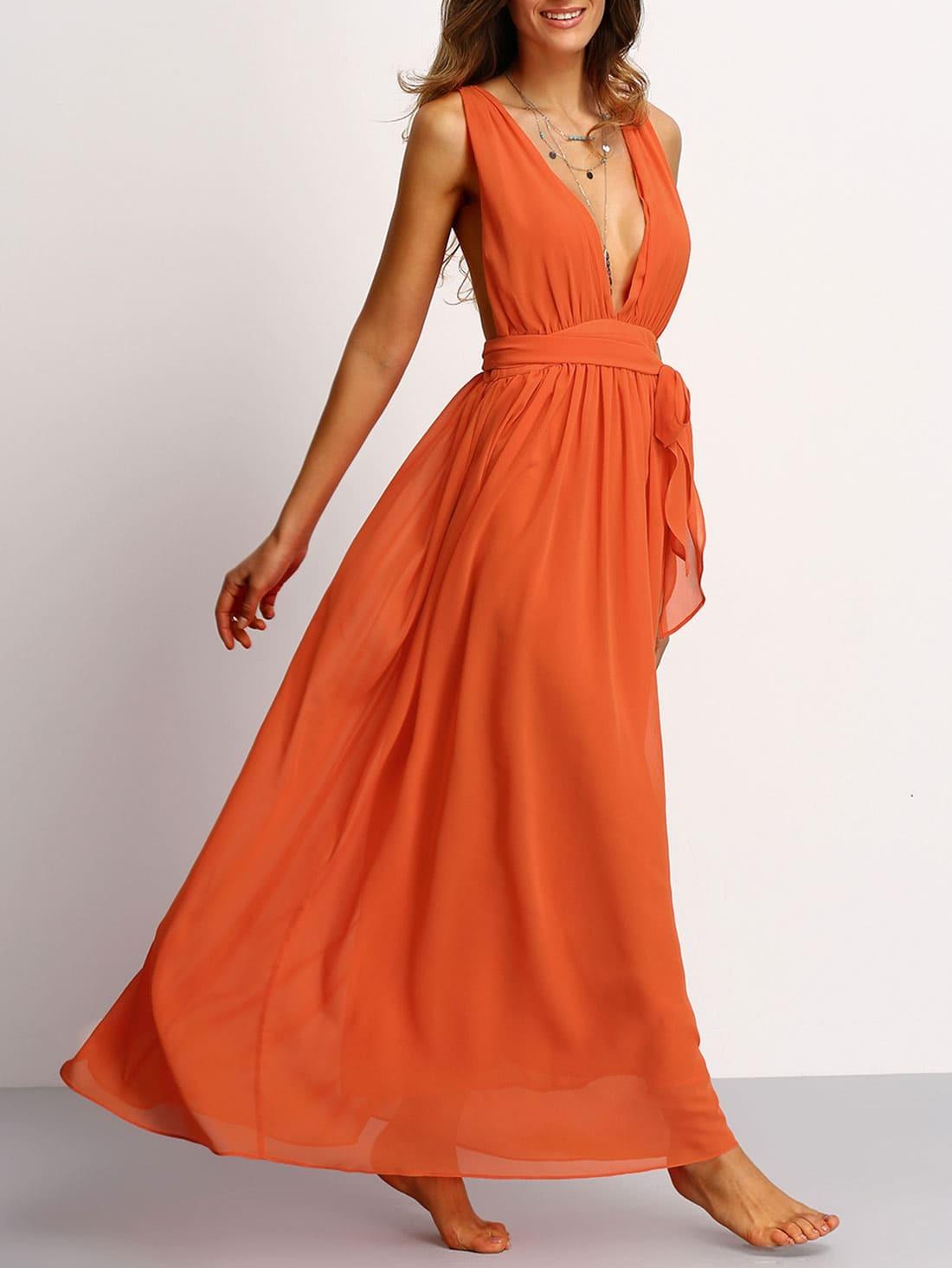 12059fb223b Plunging V-Neckline Tie Waist Maxi Dress