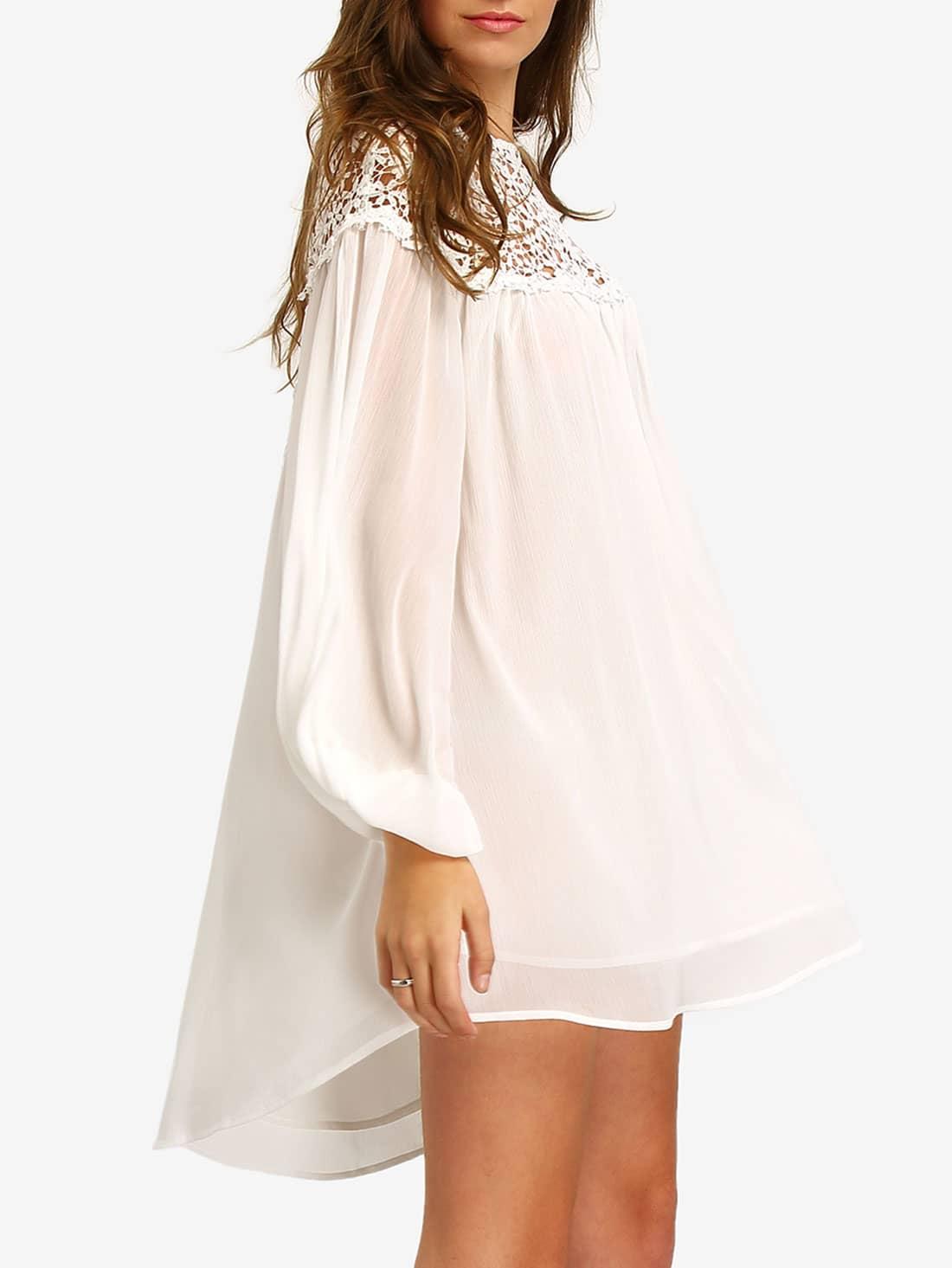 Chiffon Kleid langarm mit Häkeleinsatz -weiß   SHEIN