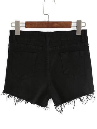 denim shorts mit fransen und taschen schwarz german. Black Bedroom Furniture Sets. Home Design Ideas