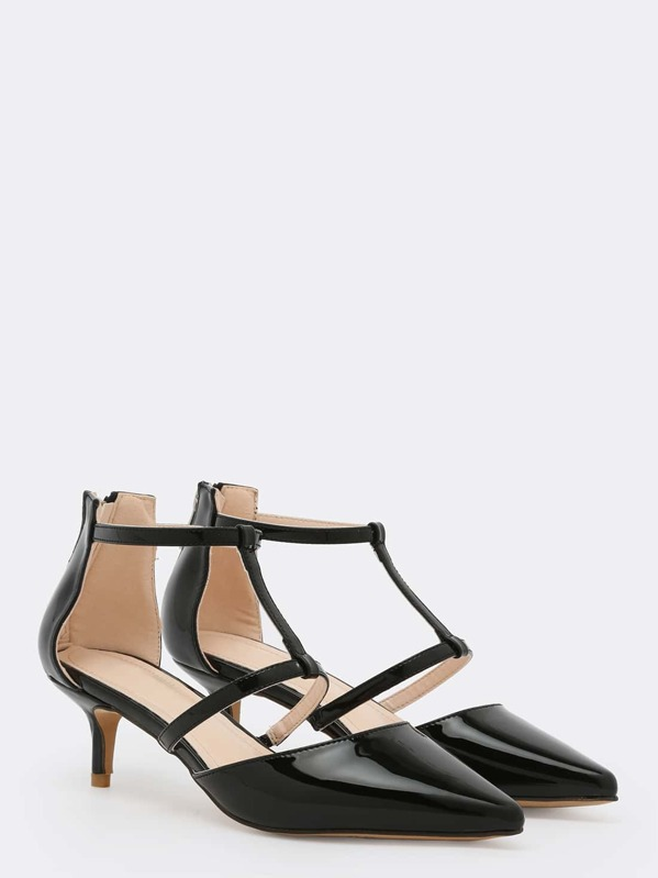 cb0432d344f96 Black Patent Strappy Pointed Toe Bakc Zip Pumps | SHEIN