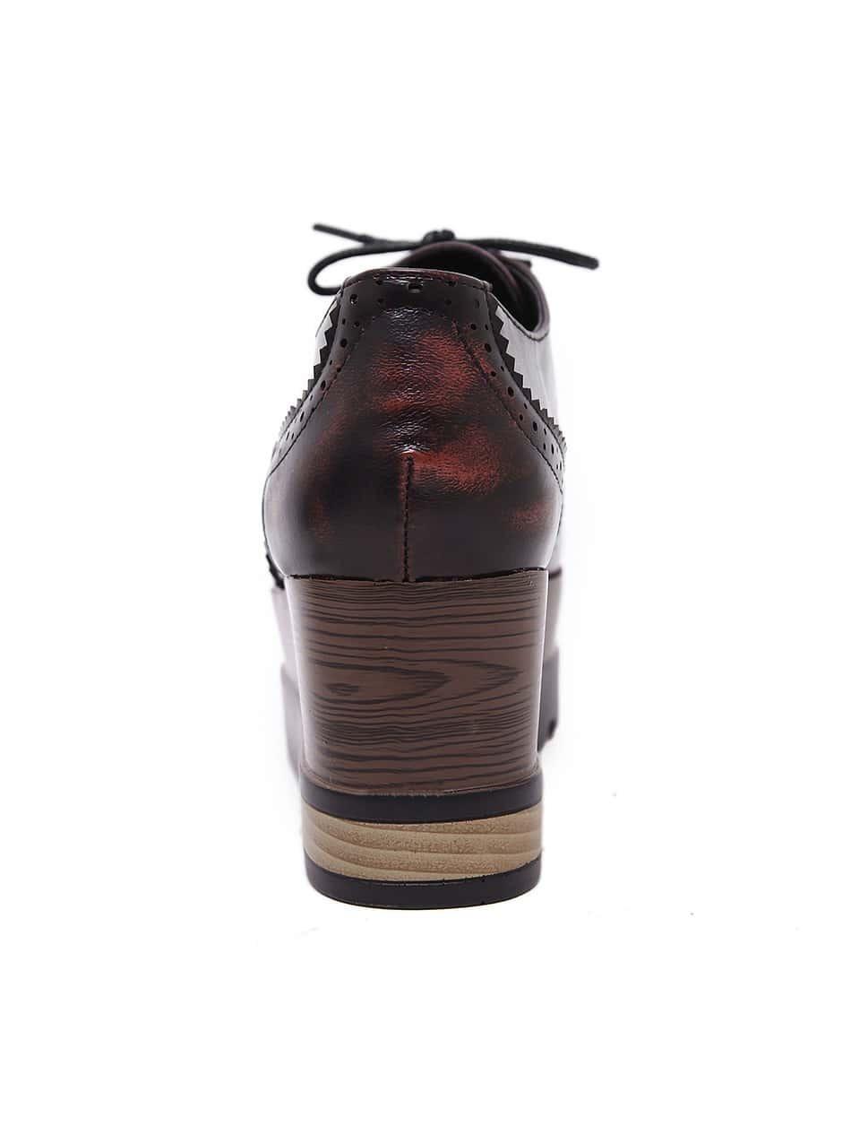 chaussure semelle compens e avec lacets rouge shein. Black Bedroom Furniture Sets. Home Design Ideas