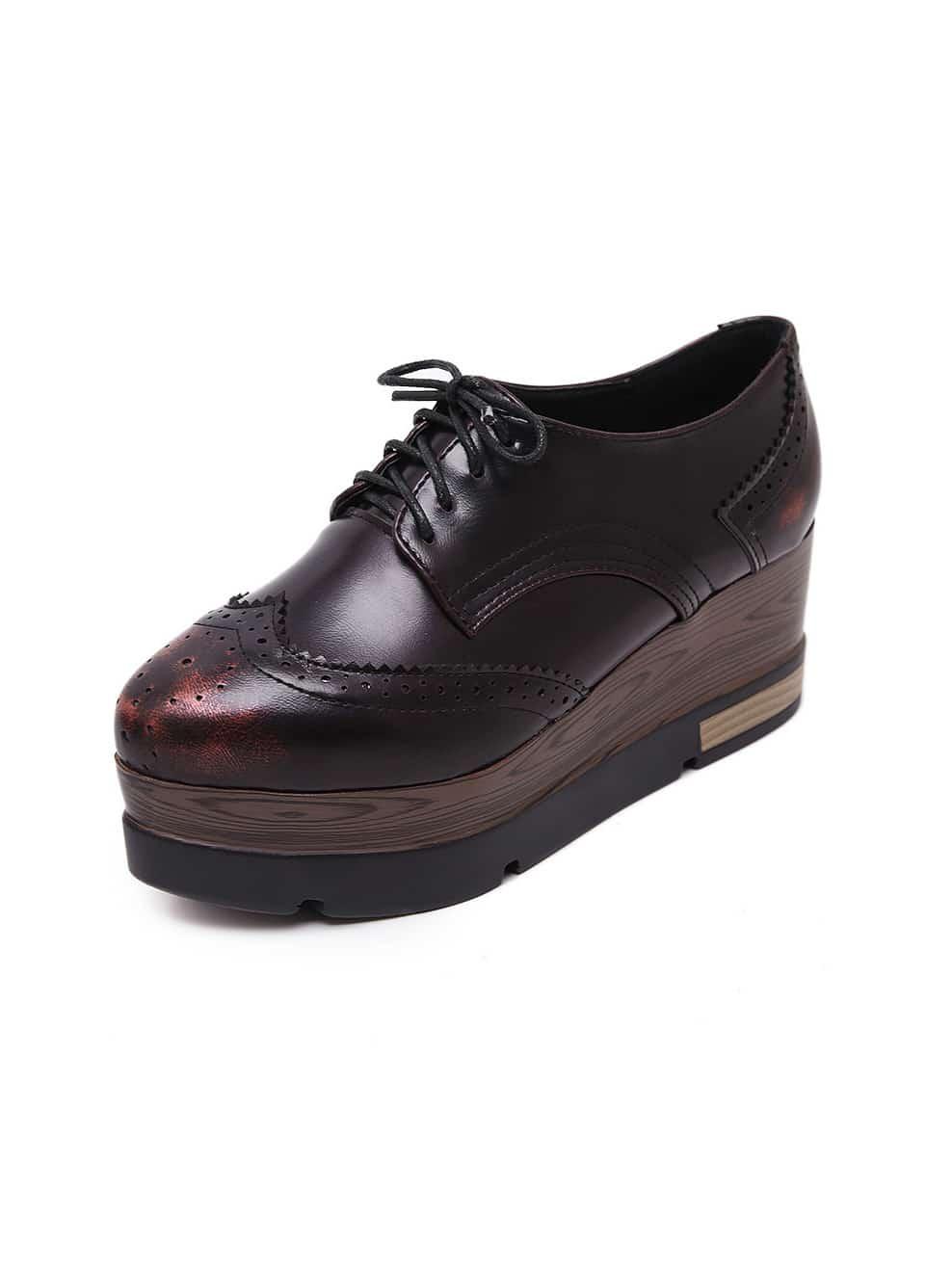 chaussure semelle compens e avec lacets rouge shein france