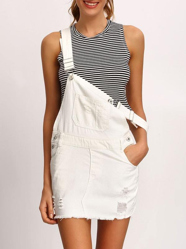 a8a4f39d17 White Frayed Denim Overall Dress