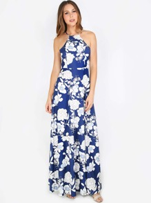 Print SHEIN Halterneck Maxi SHEINSIDE Floral Dress L3Rc5S4Ajq
