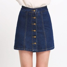 SHEIN | A Line Denim Skirt With Buttons | Goxip