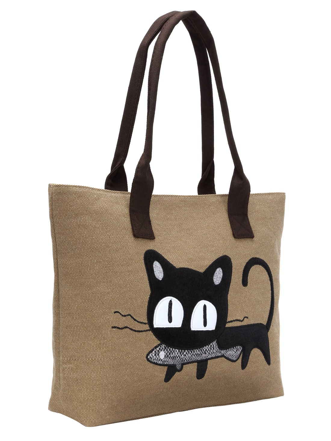 Lovely Cat Embroidery Patch Canvas Tote Bag -SheIn(Sheinside)