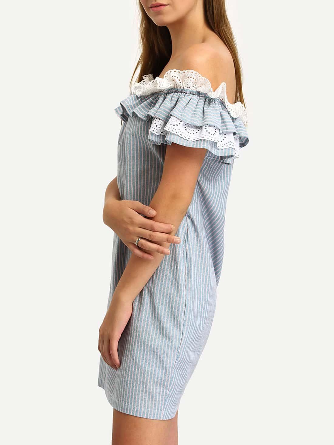 Blue Off The Shoulder Flounce Striped Pockets Dress