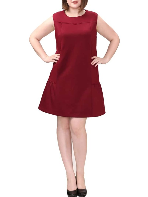 Plus Size Ruffle Hem Bakc Zip Burgundy Dress | SHEIN