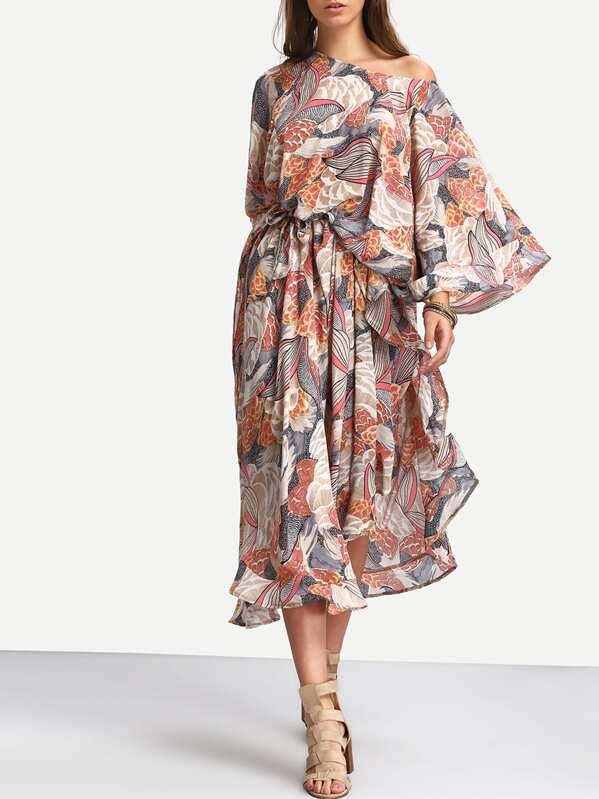 3aa4a896d50e Multicolore stampa floreale caftano manica Dress Maxi