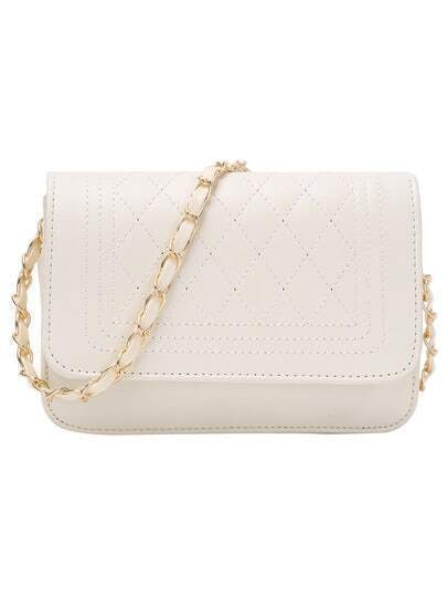 Faux Leather Qulited Flap Chain Bag