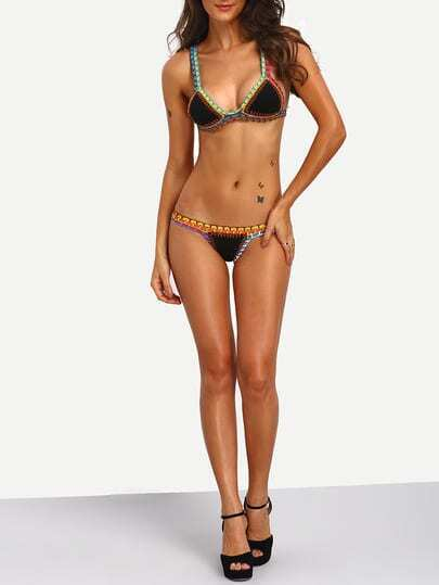 Crochet Trim Bikini : Crochet Trim Triangle Bikini Set -SheIn(Sheinside)