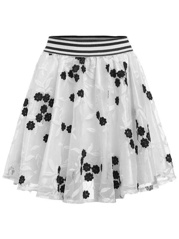 540454da2f White Striped Trim Embroidered A-Line Skirt   SHEIN