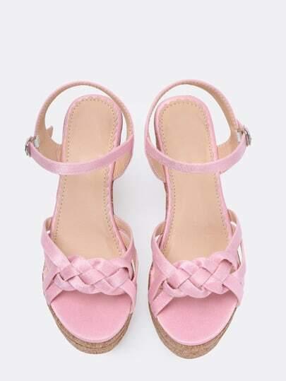 sandalen mit keilabsatz aus kunstleder rosa german shein. Black Bedroom Furniture Sets. Home Design Ideas