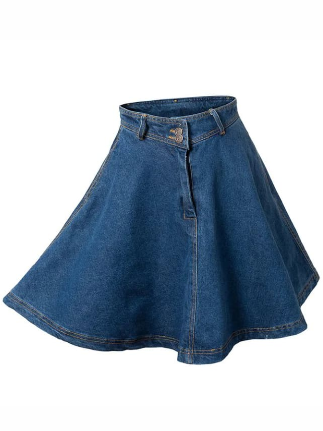 blue high waist denim flare skirt shein sheinside