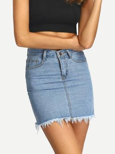 Frayed Denim Fitted Skirt -SheIn(Sheinside)