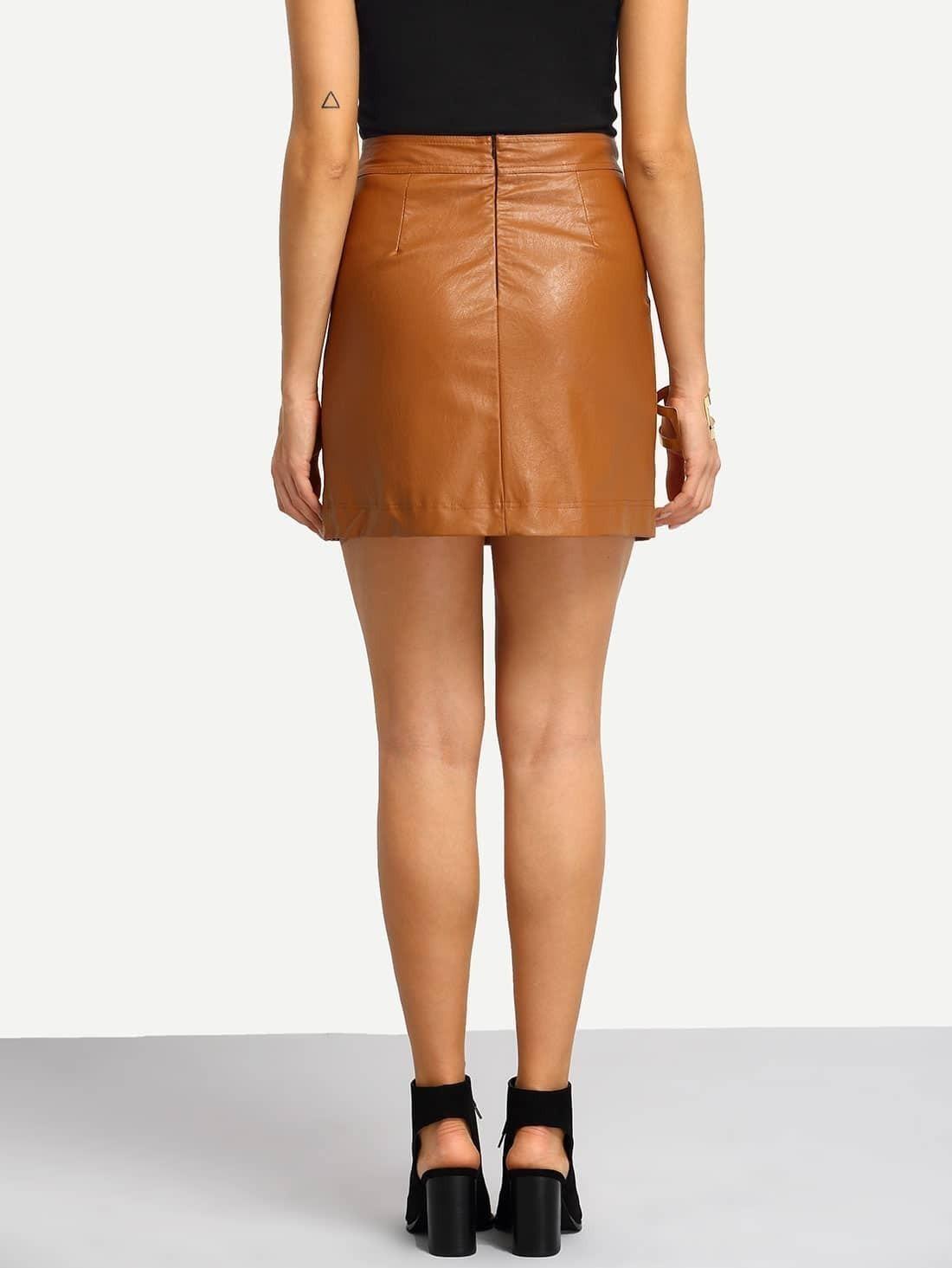 brown pu a line skirt shein sheinside