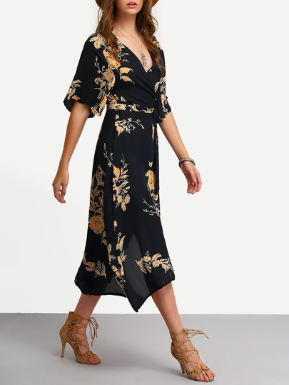 a3f70511b3 Surplice Front Florals Wrap Dress