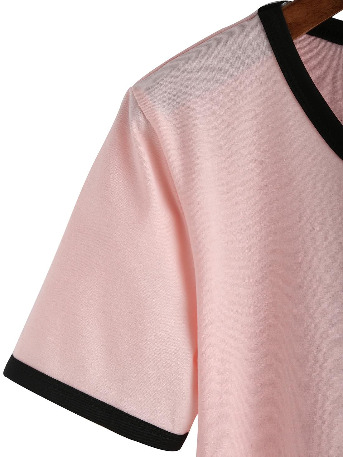 Pink Crew Neck Alien Print Crop T-Shirt