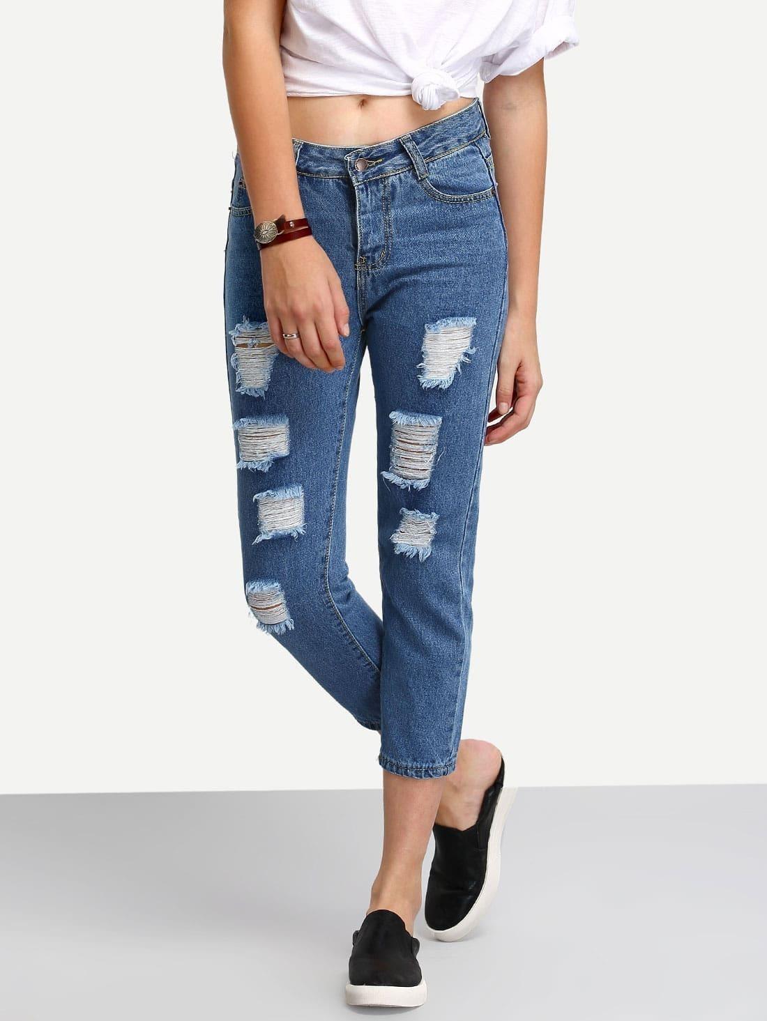 pantalon skinny en denim effet d chir bleu french shein. Black Bedroom Furniture Sets. Home Design Ideas