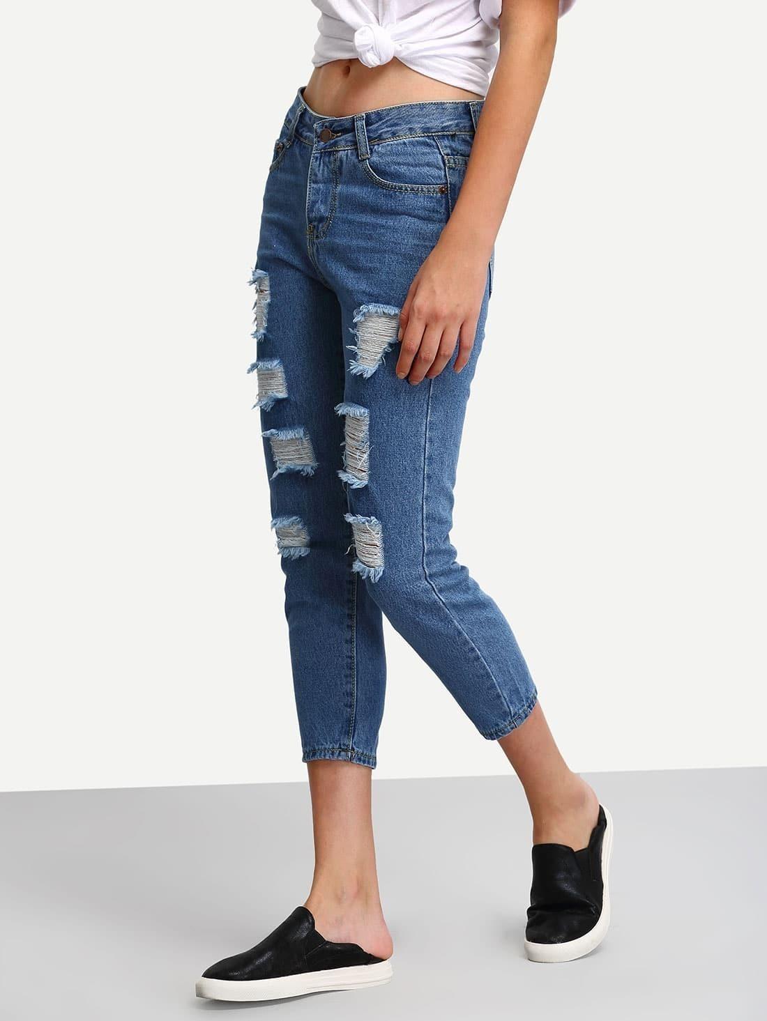 pantalon skinny en denim effet d chir bleu french shein sheinside. Black Bedroom Furniture Sets. Home Design Ideas