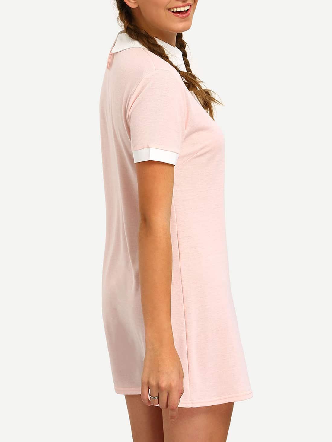 Pink Contrast Collar Shirt Dress Shein Sheinside
