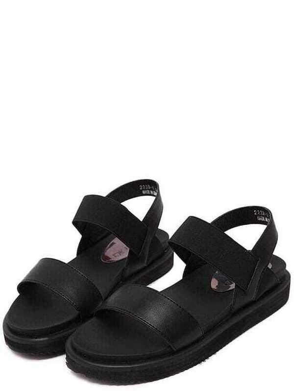 f181d0429d02 Black Elastic Flat Sandals