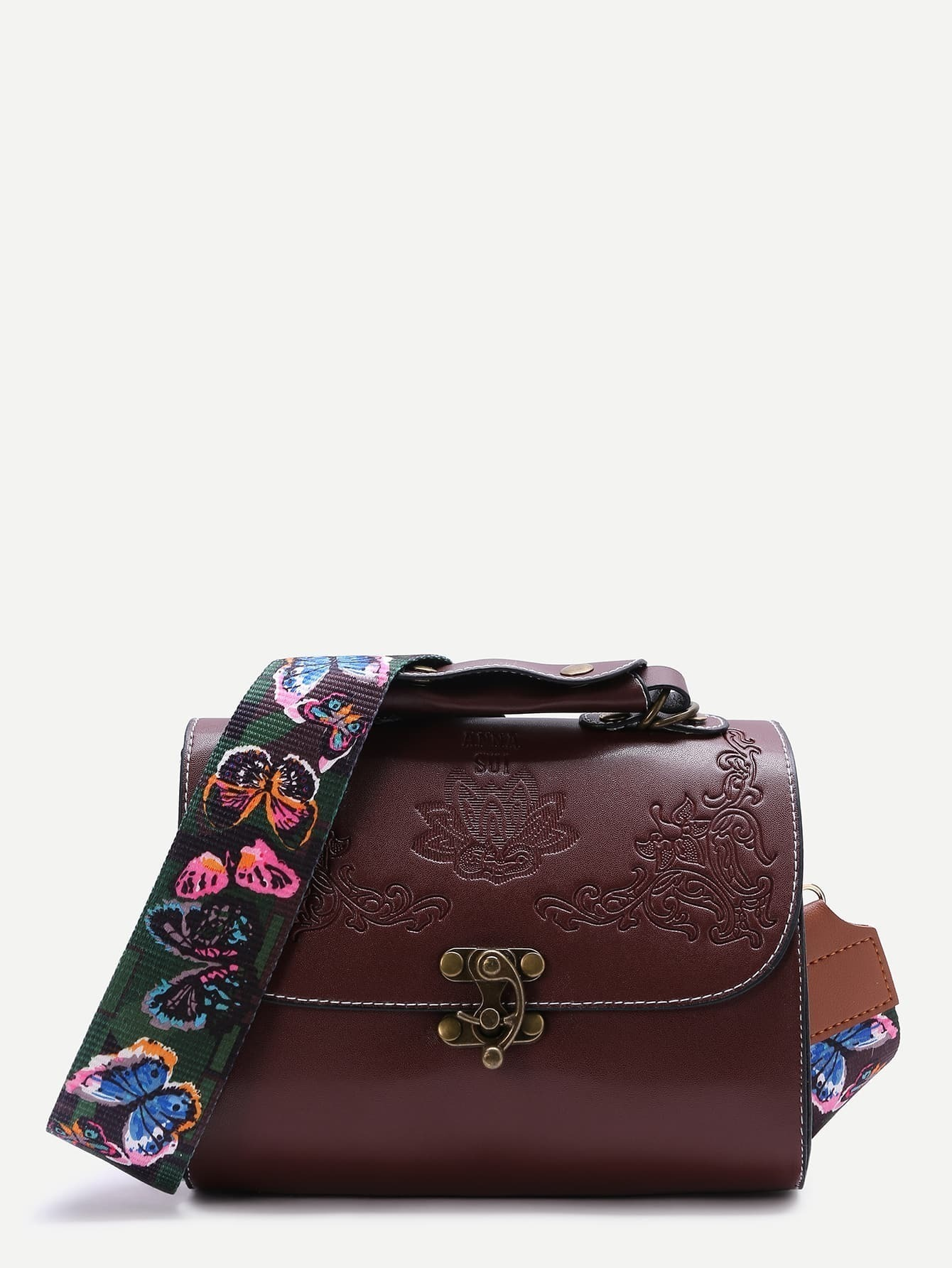 Flower Embossed Swing Hook Crossbody Bag -SheIn(Sheinside)