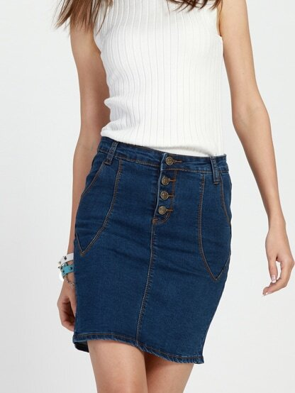 30cf8dfd5 Buttoned Fly Skinny Denim Skirt. AddThis Sharing Buttons