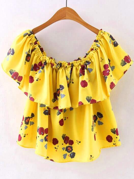 Yellow Off The Shoulder Blouse 34