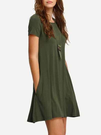 Army Green Short Sleeve Casual Shift Dress -SheIn(Sheinside)