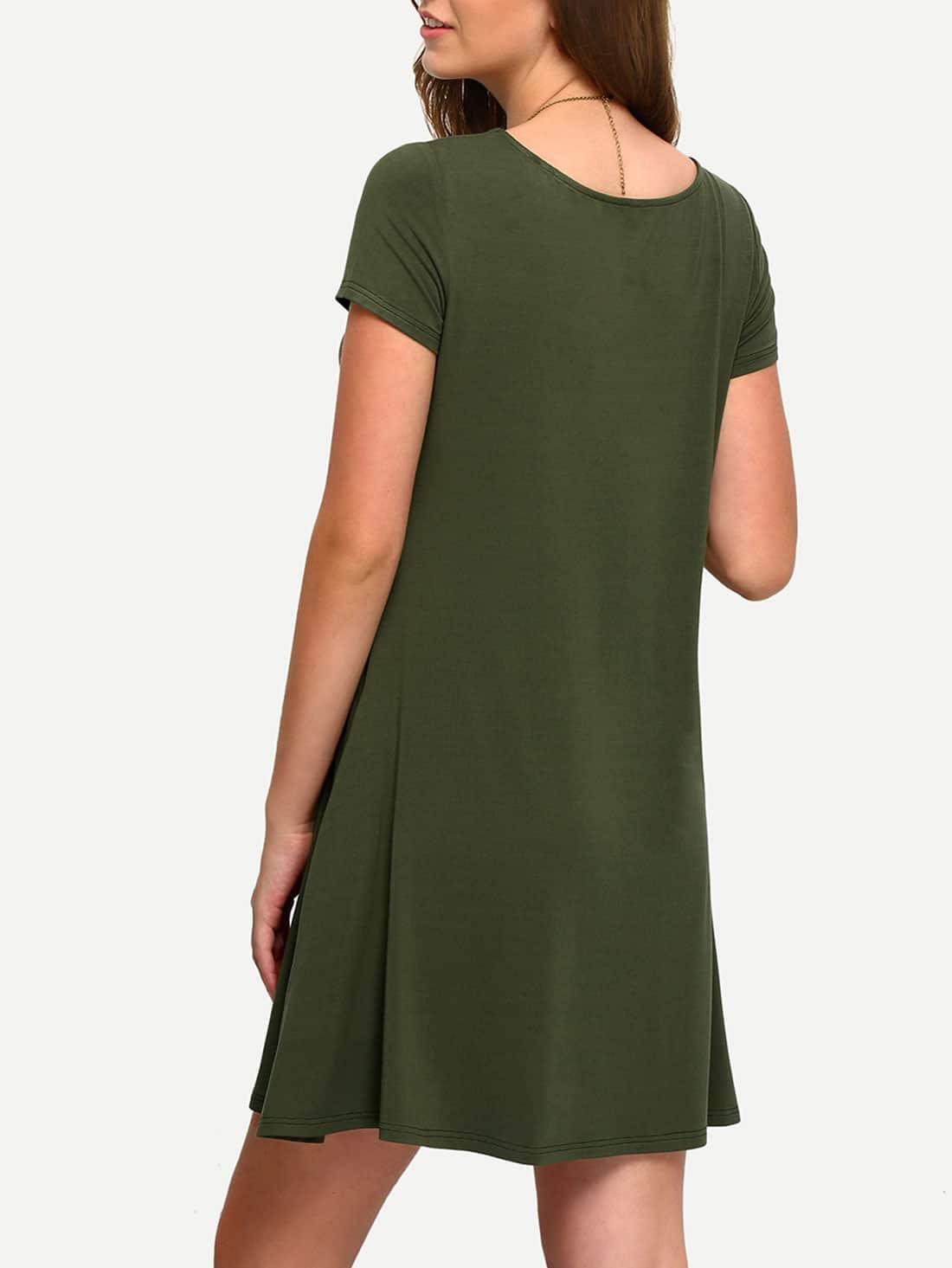 Army Green Short Sleeve Casual Shift Dress